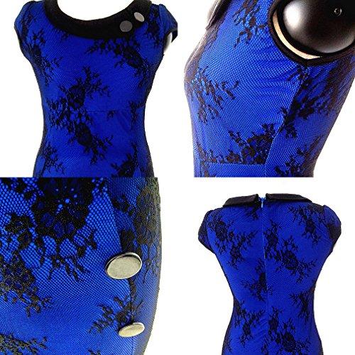Bigood Femme Vogue Col Rond Robe Caudale de Poisson Hanche Jupe Slim Bleu dentelle