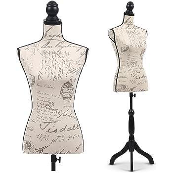songmics r glable porte v tement mannequin de couture buste en fer forg femme noir hauteur 170. Black Bedroom Furniture Sets. Home Design Ideas