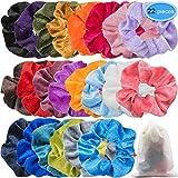 EAONE 22 Colori Velluto Capelli Scrunchies Cravatte elastiche per capelli Fasce elastiche Fasce per porta coda di cavallo per donne Ragazze, 22 pezzi
