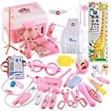 Arztköfferchen Doktor Set, Lommer 37 Pcs Arzt Spielzeug Kinderarztkoffer Arztkoffer für Kinder (Rosa)
