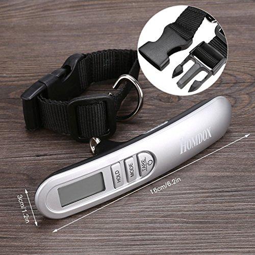 Homdox Digital Gepäck Skala mit Wiegen Rack, Tara und Auto Halten Funktion, LCD-Display Hängende Skala, 50kg / 110lbs Kapazität, Silber Schwarz - 6