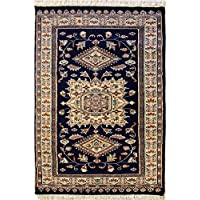 94x147 Caucasian Design Area Rug with Silk & Wool Pile | 100% Original Hand-Knotted in Blue,Gold,Reddish Brown colors | a 91 x 152 Rectangular Caucasian Design Rug