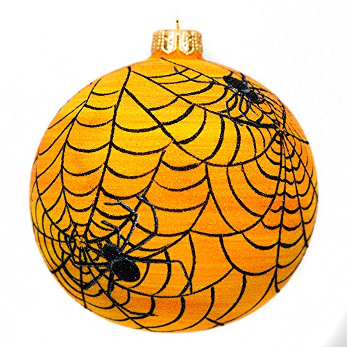 Home and Holiday Shops Tangled Spider Web Orange Ball Polish Glass Halloween Tree Ornament Made Poland