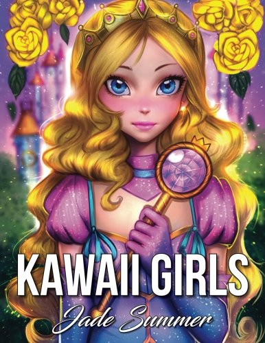 Kawaii Girls: An Adult Coloring Book with Adorable Manga Girls and Cute Fantasy Scenes