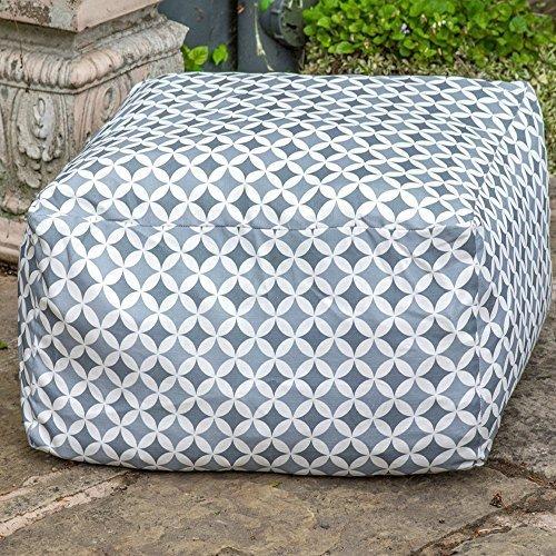 "Designer Wasserdicht marokkanischen Garten Outdoor rectangluar Pouf-Grau Bahia, ""Marrakech"" Kollektion-Entworfen, bedruckt & Handarbeit in der UK"