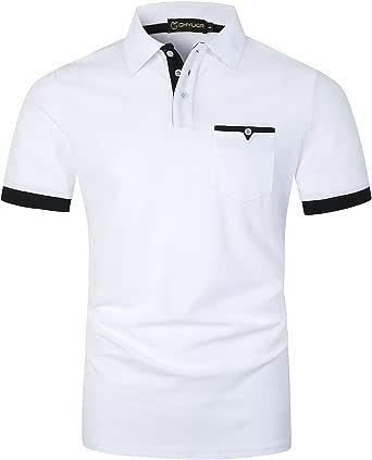 GHYUGR Polo Uomo Manica Corta con Tasche Vere Camicia Casuale Basic Golf Tennis Tshirt Cotone Magliette