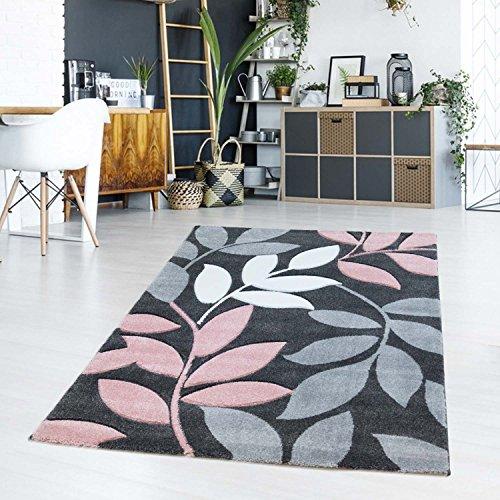 Alfombra Moderna Pelo Corto Plano Diseño floral hojas colores pastel rosa rosé Salón/juvenil habitaciones, 120/170 cm