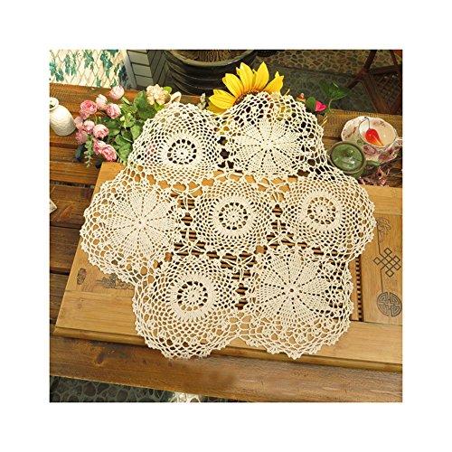 aspire 61 cm Pure Crochet au Crochet Knit Line Décoration de Jardin Abat-Jour Rond nappes, Coton, B Beige, Taille Unique