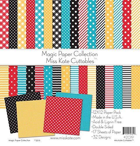 Miss Kate Cuttables Muster-Papier-Set - Magic Basics - für Disney - 17 doppelseitig, 30,5 x 30,5 cm Sammlung enthält 34 Muster - Scrapbooking-Kartenbasteln -