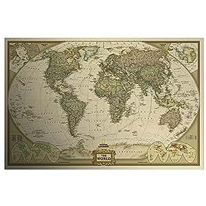 Poster rétro style vintage Motif carte du monde Atlas géant