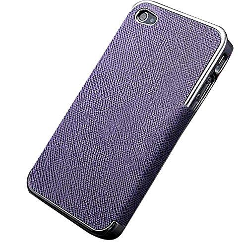Luxury Leder Tasche Case Etui Schale Rückschale für iPhone 5/5G/4S/4 (für iPhone 4G/4S, Goldig/Schwarz) Silbrig/Lila