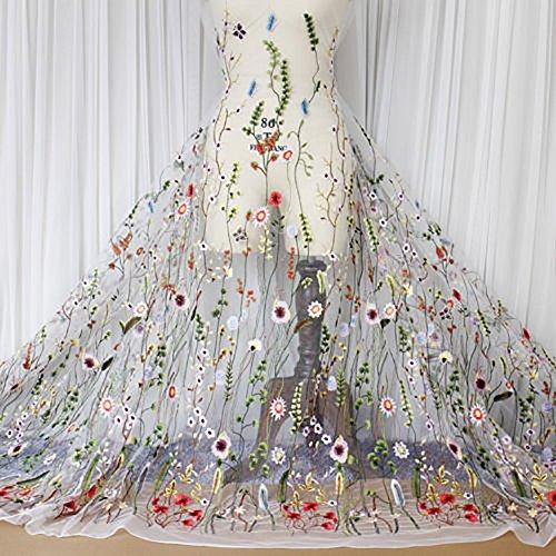 Zum Verkauf Kostüm Pro - Youmu blumig bestickter Spitzenstoff, Mesh-Stoff zum Nähen, geeignet für Hochzeitskleider, 119 cm breit, Verkauf pro Meter, weiß, 100*120 cm/39.37*47.2
