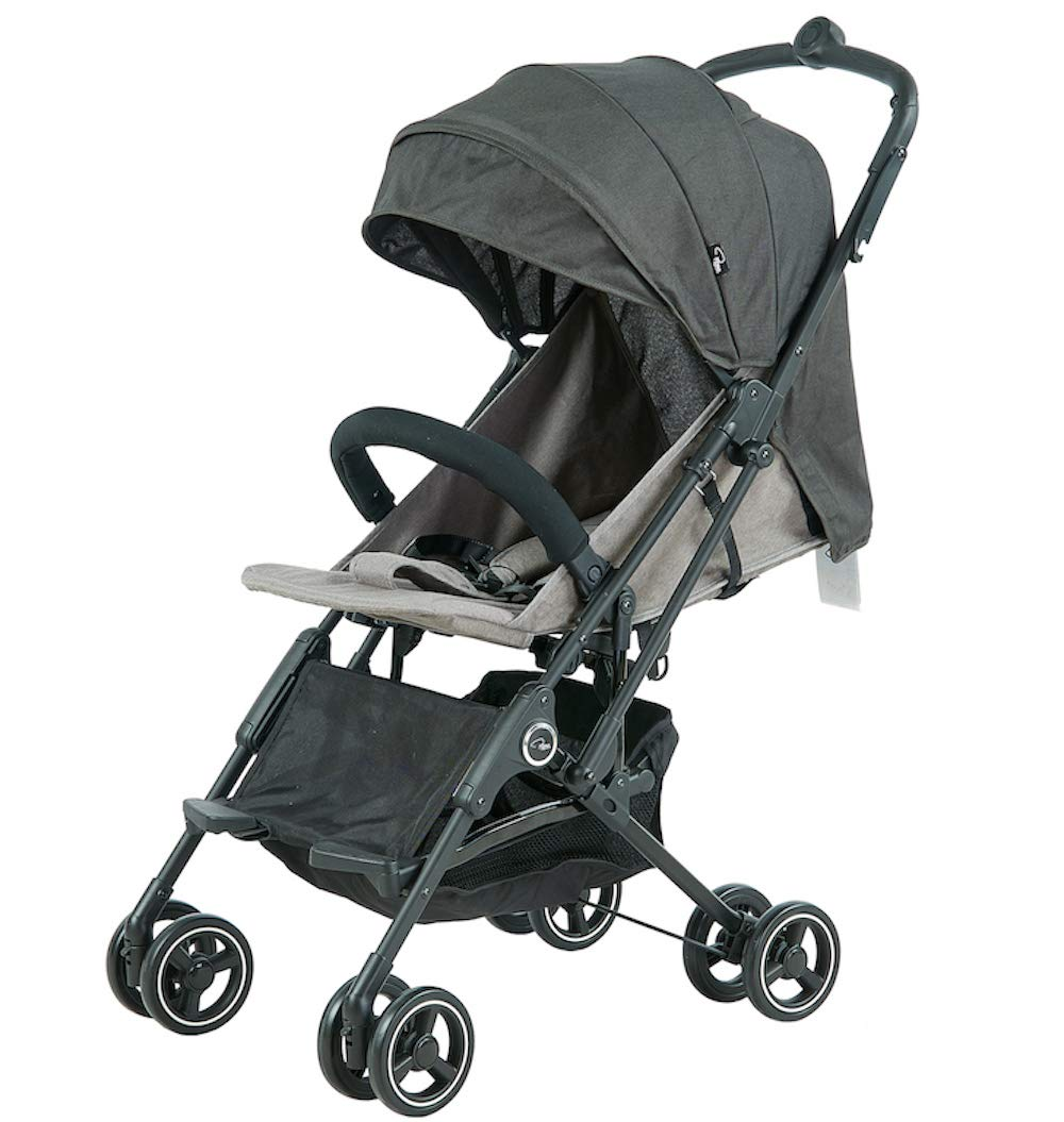 Roma Capsule² Compact Airplane Travel Buggy from Newborn + Rain Cover, Insect Net and Travel Bag, Only 5.6 kgs - Grey with a Black Chassis Roma Compact lie-back stroller - suitable from newborn to 15 kgs Includes rain cover, insect net, travel bag Locked and swivel wheels, shopping basket, 3