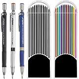 YOTINO 3 Piezas 2.0 mm Lápiz Mecánico con 24 Pcs Mina de Lápiz Recambios de Color y Negros para Dibujo, Escritura, Manualidad