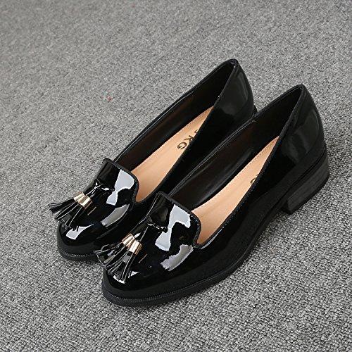 &qq Chaussures femmes chaussures, bouche superficielle basse, en cuir verni rond, chaussures de mode 38