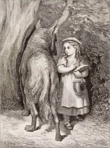 120 x 160 cm: Szene von Rotkäppchen von Charles Perrault von Gustave Doré/Design Pics ()