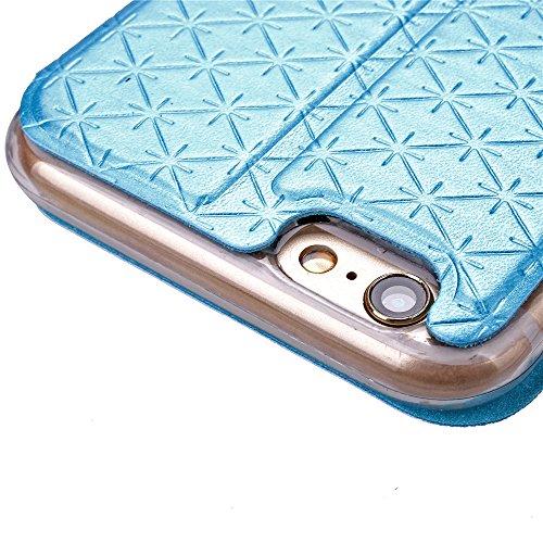 iPhone 6 Plus / 6S Plus Handycover, TOTOOSE für iPhone 6 Plus / 6S Plus Rhombus Grid Pattern Ultra dünn PU Leder Hülle mit View Windows Flip Stand Funktion Weiches TPU Silikon Abdeckung Schützend Scha Blau