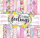 WSD Warenhandel Scrapbooking Papier Vintage Motivblock (07 - Floral Feelings) Bastelpapier 250gr/qm - 48 Motive Grösse je 30,5 cm x 30,5 cm