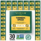 Kurkuma Tee Chai - 30 Pyramiden Teebeutel, 100 % Natürlicher Detox Tee - Indiens Wunder Heilrezept - INDIENS TRADITIONELLES SUPER FOOD, Kurkuma Pulver gemischt mit frischen Gewürzen