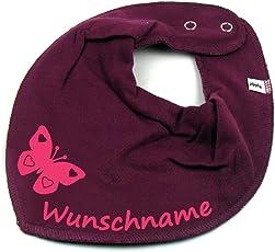 HALSTUCH SCHMETTERLING mit Namen oder Text personalisiert beere für Baby oder Kind