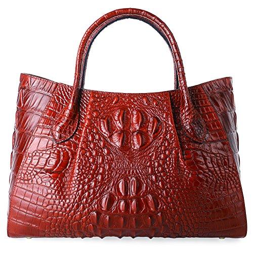 PIFUREN Designer Krokodil Top Griff Handtaschen aus echtem Leder Damen Handtasche Staubbeutel M1107, Rot (rot), (36.83 cm) - Griff Designer-handtasche