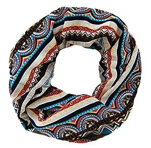 Großes Damen Schaltuch Matoaka mit Streifen und Zick Zack Muster, Loop Schal in braun weiß blau
