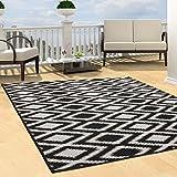 Teppich Flachflor Modern Outdoor fest Geknüpft Outside Sunset Karo Schwarz Weiß 200 x 290 cm