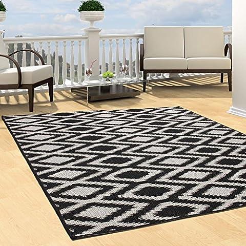 Teppich Flachflor Modern Outdoor fest Geknüpft Outside Sunset Karo Schwarz Weiß 120 x 170 cm (Teppich Für Balkon)