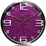 Jedfild 14-Zoll Wohnzimmer kreative Mode Uhren Wecker, mute Lila