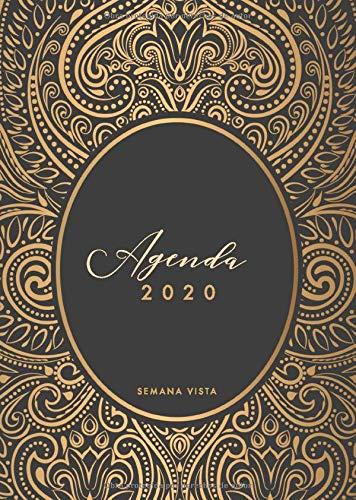 Agenda 2020 Semana Vista A5: Agenda y cuaderno 12 meses, enero - diciembre 2020, diseño de mandala