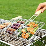 VelKro Chromium Plated Barbecue BBQ Grill Net Basket with Wooden Handle