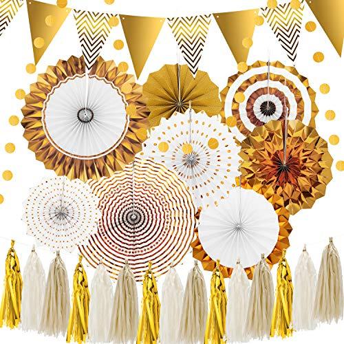 26 Stücke Gold Party Dekorationen Glitzernden Papier Wimpel Banner Dreieck Fahnen Gold Papier Fan Blumen Hängen Kreis Punkte Papier für Baby Dusche, Geburtstag Dekorationen, Party Wanddekorationen -