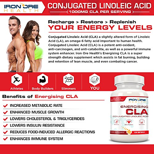 61gvGJLP7UL. SS500  - CLA | Non-Stimulating, Non-GMO & Gluten-Free | 120 Count | Made in The UK by Iron Ore Health