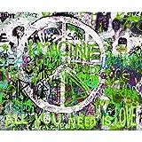 decomonkey Fototapete selbstklebend Graffiti 343x256 cm XXL Selbstklebende Tapeten Wand Fototapeten Tapete Wandtapete klebend Klebefolie Bunt Jugend Kinder Jugendliche Zimmer FOB0010c73XL