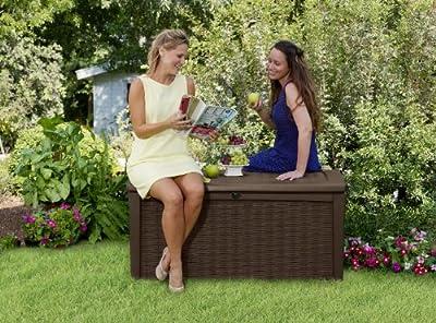 Keter Gartenbank / Aufbewahrungsbox XL, 400 Liter Fassungsvermögen, Braun (Rattan)