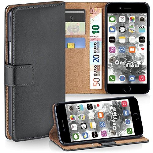 Apple iPhone 7/8 Hülle Dunkel-Grau mit Karten-Fach [OneFlow 360° Book Klapp-Hülle] Handytasche Kunst-Leder Handyhülle für iPhone 7/8 Case Flip Cover Schutzhülle Tasche (Klappe-karte Leder -)