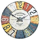 Wanduhr - Kensington - Holz Küchenuhr mit großem Ziffernblatt aus MDF, Retro Uhr im angesagtem Shabby Chic Design mit leisem Quarz-Uhrwerk, Ø: 32 cm