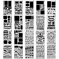 Surblue 20pcs Bullet Ensemble Pochoir Journal Planner Pochoir pour la création de cartes de Journalisation), scrapbooking, DIY et projets artistiques