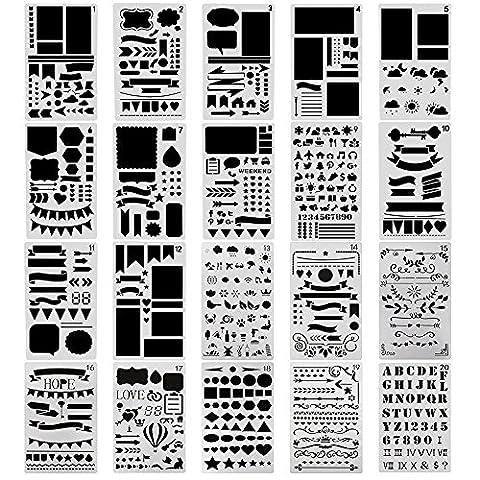 surblue 20PCS Bullet Tagebuch Schablone, Set Planer für Journaling, Scrapbooking, selbstgemachten Karten und Kunst-Projekte