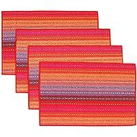 AUTOPKIO 4 pc / set tovagliette, tessuto fatto a mano intrecciato coasters a coste arcobaleno cotone rosso (12