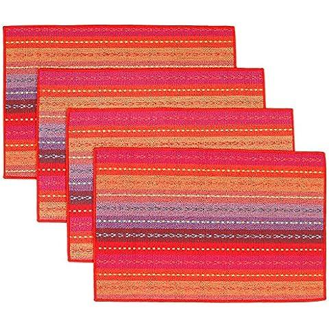 AUTOPKIO 4pcs / set manteles de mesa, tejido hecho a mano acanalado trenzado tabla del algodón del arco iris tapetes de Red (12
