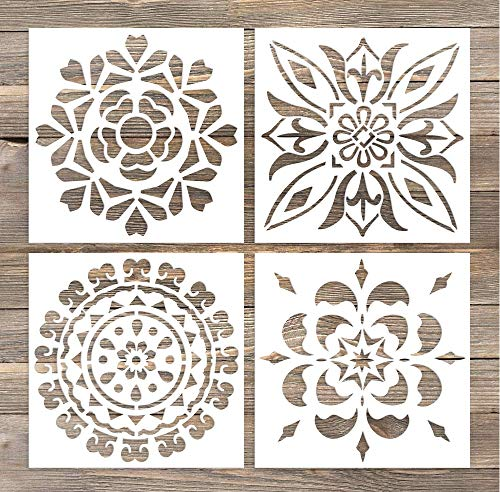 GSS Designs Pack of 4 Wall Stencils 6x6 Inch Laser Cutting Tiles Stencil Template for DIY