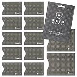 #benehacks RFID Blocking Schutzhülle für Kreditkarte, Personalausweis, Reisepass, EC-Karte, Bankkarte (12 Stück), Farbe:schwarz
