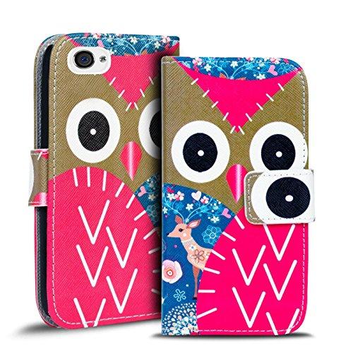 Gemusterte Hülle für Apple iPhone 4S 4 Klapphülle Tasche – Wallet Case mit verrücktem Paisley Motiv Design mit Kartenfach und Aufstellfunktion Motiv 17