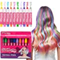 Hair Chalks Set- 10 Colourful Hair Chalk Pens. Temporary Colour for Girls for All Ages. Makes a Great Birthday Gift.