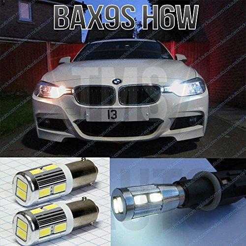 MCK Auto H6W Sidelight White LED Bulbs Lights Set Kit 2Pcs F30 F31 F34 Xenon Canbus Bax9S EB4L1
