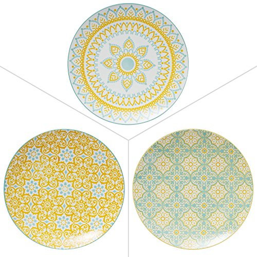 TABLE PASSION - ASSIETTE PLATE 27CM MIKADO PORCELAINE ASSORTIE (LOT DE 6)