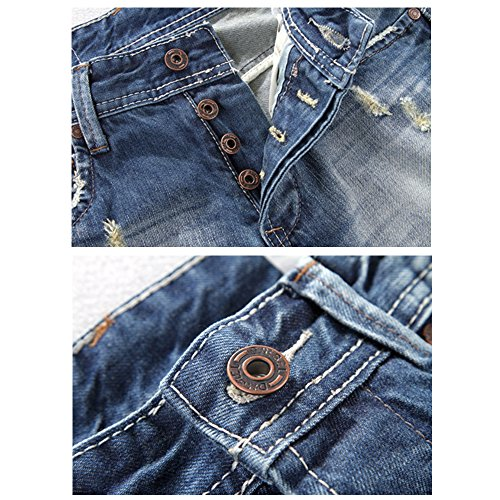 BicRad Herren Jeanshose Destroyed Denim Jeans Usedlook Straight Regular Slim Hell Denim Blau