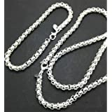 Aimys Mens Womens 925 Silver Rolo Cable Chain Necklace Stainless Steel Square Rolo Chain Bracelet Necklace Set
