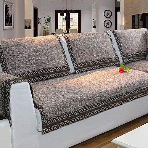 Z-one Sofa Abdeckung Retro Dekoration Sofa Überwurf Baumwolle Anti-rutsch Schmutzabweisend Kissen beschützer Für L förmige- Couch Schnitt-Kaffee 110x240cm(43x94inch) - Baumwolle Gesteppte Kissen-abdeckungen